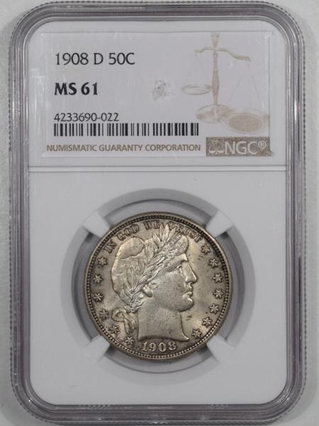 Coin World/Numismatic News Featured Coins 1908-D BARBER HALF DOLLAR, NGC MS-61, FRESH, ORIGINAL & A REAL B.U.!