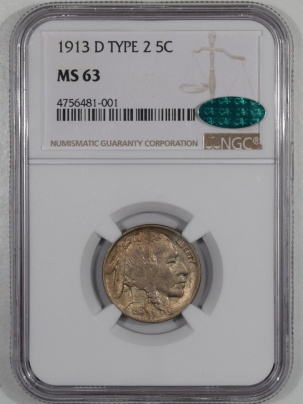 Buffalo Nickels 1913-D BUFFALO NICKEL, TYPE 2, NGC MS-63, CAC, ORIGINAL & PQ!