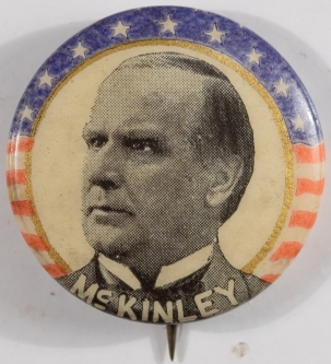 Other Collectibles 1900 WILLIAM MCKINLEY 7/8″ R/W/B/ STARS & STRIPES PICTURE CAMPAIGN BUTTON MINT