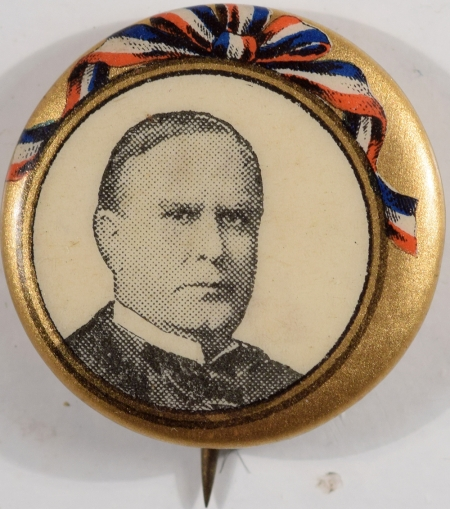 Other Collectibles 1900 WILLIAM MCKINLEY 7/8″ R/W/B AND GOLD PICTURE CELLULOID CAMPAIGN BUTTON MINT