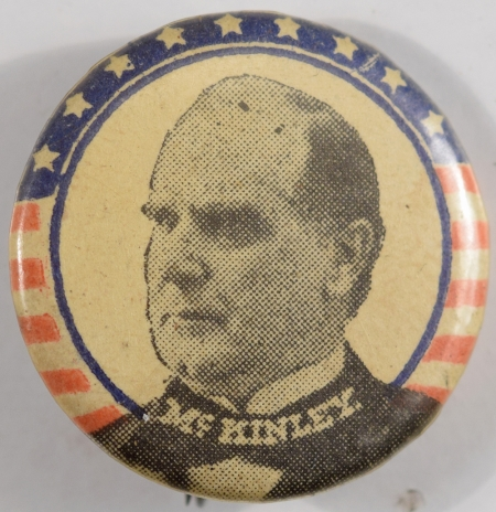 Other Collectibles 1900 WILLIAM MCKINLEY 7/8″ R/W/B PICTURE CELLULOID CAMPAIGN BUTTON MINT