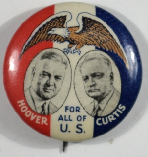 Other Collectibles HOOVER CURTIS FOR ALL OF U.S. 1 1/4″ CELLULOID CAMPAIGN BUTTON in NEAR MINT