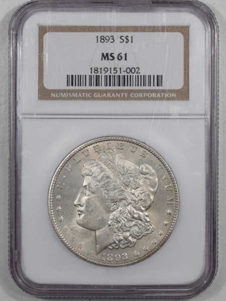 New Certified Coins 1893 MORGAN DOLLAR NGC MS-61