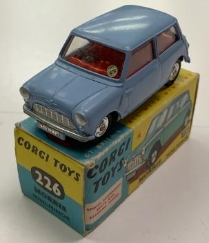 Corgi 1960 CORGI #226 MORRIS MINI MINOR, PALE BLUE W/ SPUN HUBS near-MINT W/ VG+ BOX