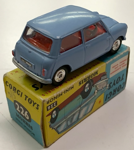Corgi 1960 CORGI #226 MORRIS MINI MINOR, PALE BLUE W/ SPUN HUBS near-MINT W/ VG+ BOX
