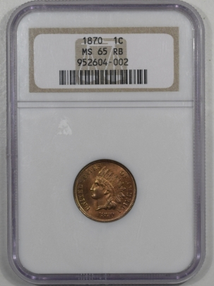 Indian 1870 INDIAN CENT NGC MS-65 RB, REALLY CLEAN & PRETTY GEM, OLDER HOLDER!