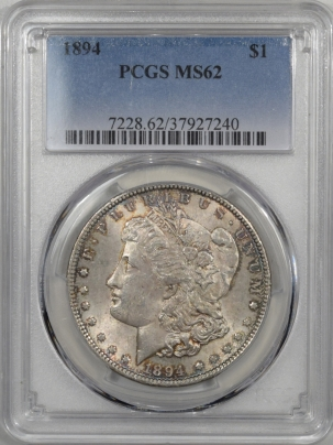 Dollars 1894 MORGAN DOLLAR PCGS MS-62, RARE LOW MINTAGE DATE, ORIGINAL SATINY WHITISH
