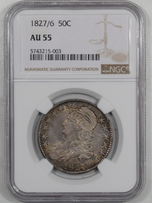 Early Halves 1827/6 CAPPED BUST HALF DOLLAR NGC AU-55, PRETTY & ORIGINAL!