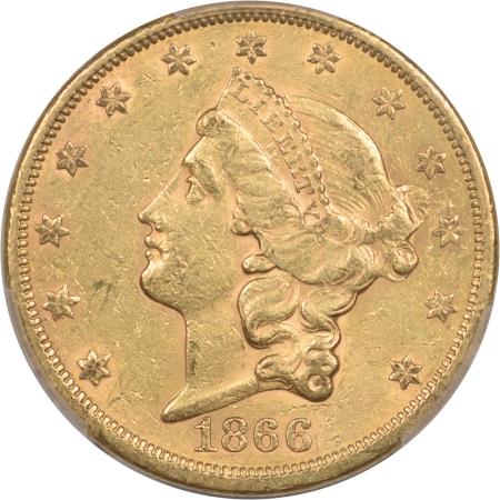 $20 1866-S $20 LIBERTY GOLD – MOTTO PCGS AU-55, ORIGINAL & TOUGH!