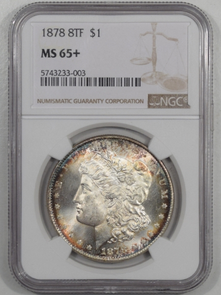 New Certified Coins 1878 8TF MORGAN DOLLAR NGC MS-65+, GORGEOUS & PREMIUM QUALITY!