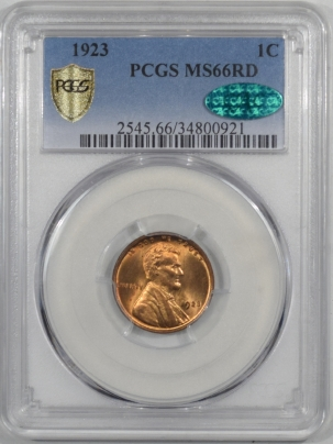 CAC Approved Coins 1923 LINCOLN CENT PCGS MS-66 RD CAC, ORIGINAL FLASHY PREMIUM QUALITY!