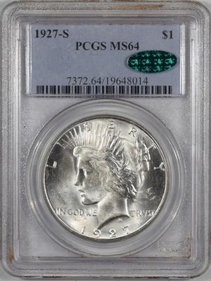 Peace Dollars 1927-S PEACE DOLLAR, PCGS MS-64, CAC, A PQ BLAZER & VIRTUALLY GEM QUALITY!