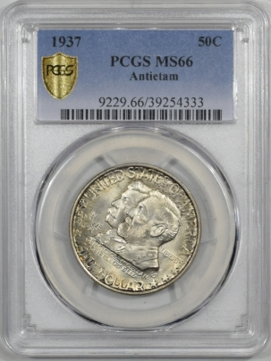 Silver 1937 ANTIETAM COMMEMORATIVE HALF PCGS MS-66, FLASHY & PREMIUM QUALITY!