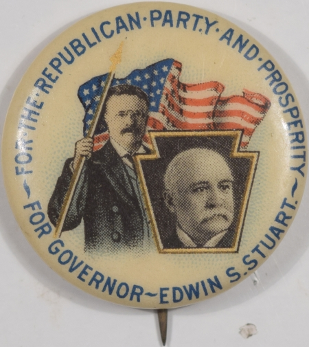 Other Collectibles 1906 7/8″ FOR REPUBLICAN PARTY & PROSPERITY GOVERNOR EDWIN STUART CELLO PINBACK