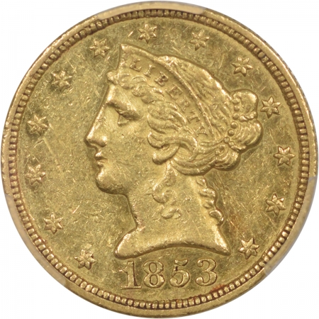 Coin World/Numismatic News Featured Coins 1853-C $5 LIBERTY HEAD GOLD PCGS AU-58 ORIGINAL WITH GOOD SKIN!