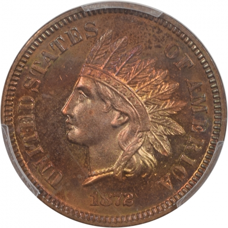 New Certified Coins 1872 INDIAN CENT PCGS PR-65+ RB PREMIUM QUALITY REALLY PRETTY COLOR!