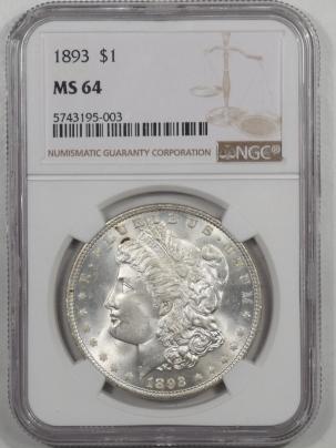 Morgan Dollars 1893 MORGAN DOLLAR NGC MS-64 WHITE AND CHOICE!