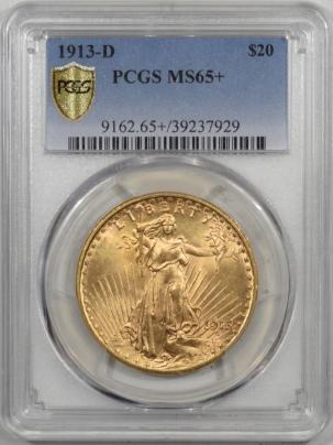 $20 1913-D $20 ST GAUDENS GOLD PCGS MS-65+ PREMIUM QUALITY $35k IN 66!
