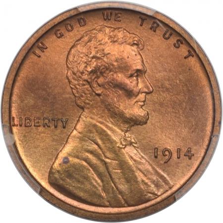 Lincoln Cents (Wheat) 1914 MATTE PROOF LINCOLN CENT, PCGS PR-66 RD, ORIGINAL, FIERY & PRETTY!