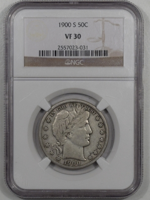Barber Halves 1900-S BARBER HALF DOLLAR NGC VF-30 SCARCE AND UNDERVALUED