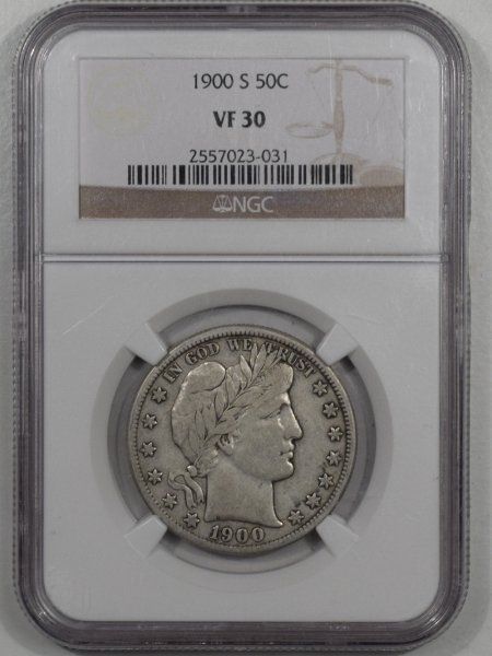 New Certified Coins 1900-S BARBER HALF DOLLAR NGC VF-30 SCARCE AND UNDERVALUED