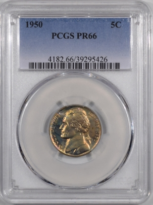 Jefferson Nickels 1950 PROOF JEFFERSON NICKEL PCGS PR-66 PRETTY & PQ!
