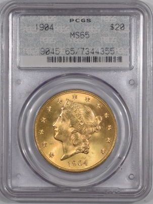 U.S. Certified Coins 1904 $20 LIBERTY GOLD DOUBLE EAGLE, PCGS MS-65, 2 PIECE DOILY RATTLER HOLDER PQ+