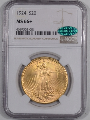 $20 1924 $20 ST. GAUDENS GOLD DOUBLE EAGLE, NGC MS-66+ CAC, SUPERB & NEARLY FLAWLESS
