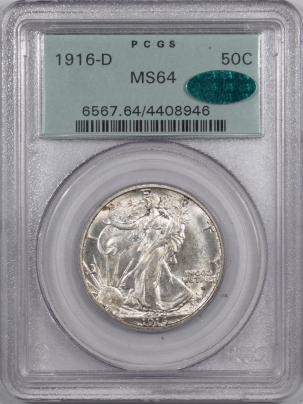 CAC Approved Coins 1916-D WALKING LIBERTY HALF DOLLAR PCGS MS-64 ORIGINAL OGH, PQ! CAC APPROVED!
