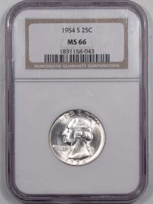 New Certified Coins 1954-S WASHINGTON QUARTER NGC MS-66, SUPERB GEM!