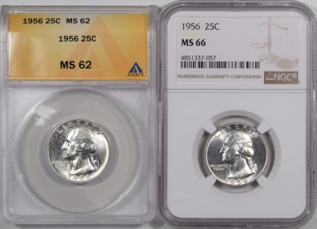 New Certified Coins 1956 WASHINGTON QUARTER LOT OF 2 – ANACS MS-62 & NGC MS-66