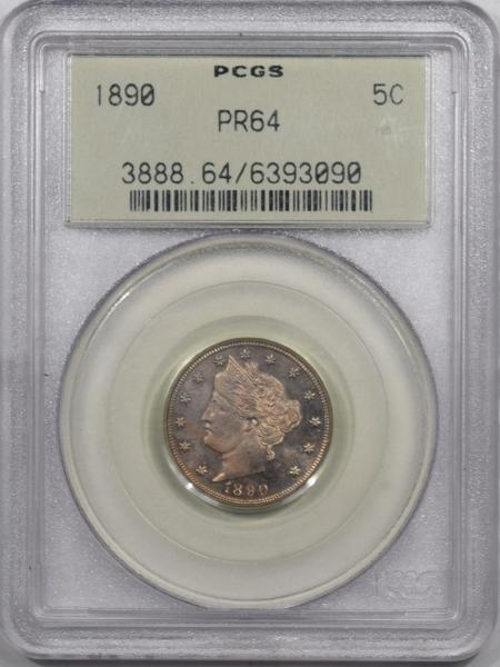 Liberty Nickels 1890 PROOF LIBERTY NICKEL PCGS PR-64 SUPER PQ, OLD GREEN HOLDER!