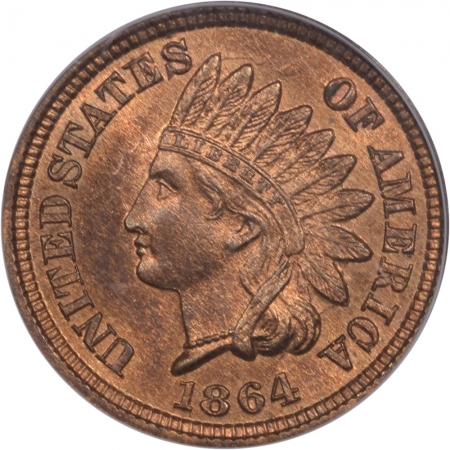 Coin World/Numismatic News Featured Coins 1864 INDIAN CENT – BRONZE EAGLE EYE PCGS MS-66 RB PQ! GREAT GLOW
