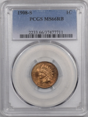 New Certified Coins 1908-S INDIAN CENT PCGS MS-66 RB NEARLY FULL RED