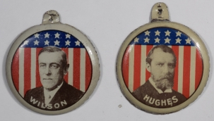 Political 1916 WILSON HUGHES LITHO TABS 1 3/8″ FULL COLOR – NEAR MINT & RARE PAIR! LOT OF 2