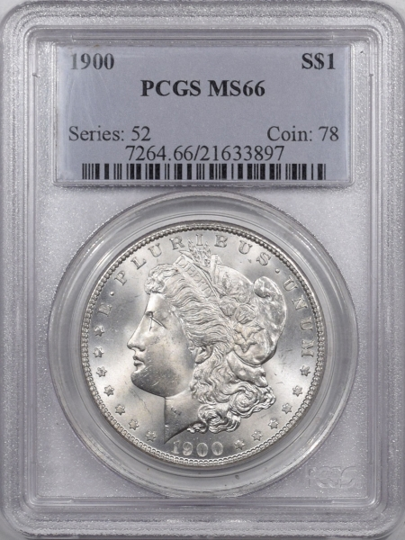 New Certified Coins 1900 MORGAN DOLLAR PCGS MS-66 PREMIUM QUALITY!