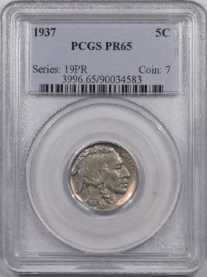 Buffalo Nickels 1937 PROOF BUFFALO NICKEL PCGS PR-65 PREMIUM QUALITY!