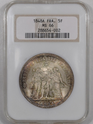 New Certified Coins 1848-A FRANCE 5 FRANCS NGC MS-66 GORGEOUS AND PREMIUM QUALITY+ FATTIE HOLDER!
