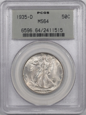 Coin World/Numismatic News Featured Coins 1935-D WALKING LIBERTY HALF DOLLAR PCGS MS-64 PQ! LOOKS GEM! OLD GREEN HOLDER!