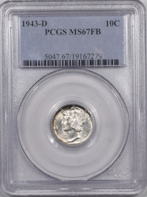 Coin World/Numismatic News Featured Coins 1943-D MERCURY DIME PCGS MS-67 FB FRESH PQ+!
