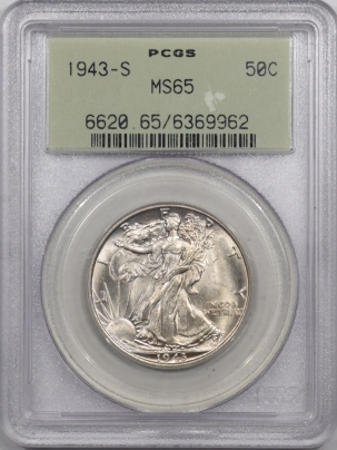 New Certified Coins 1943-S WALKING LIBERTY HALF DOLLAR PCGS MS-65 PQ++ OLD GREEN HOLDER!