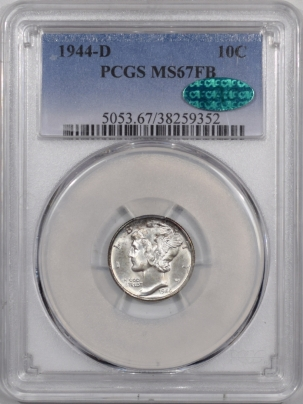 CAC Approved Coins 1944-D MERCURY DIME PCGS MS-67 FB FRESH PQ++ CAC APPROVED!