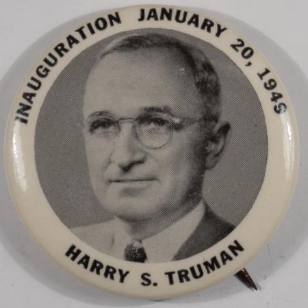 Political 1949 1-3/4″ TRUMAN INAUGURAL CELLO BUTTON – MINT!