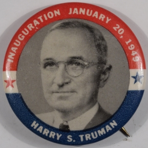 Political 1949 1-3/4″ TRUMAN INAUGURAL R/W/B CELLO BUTTON – MINT!