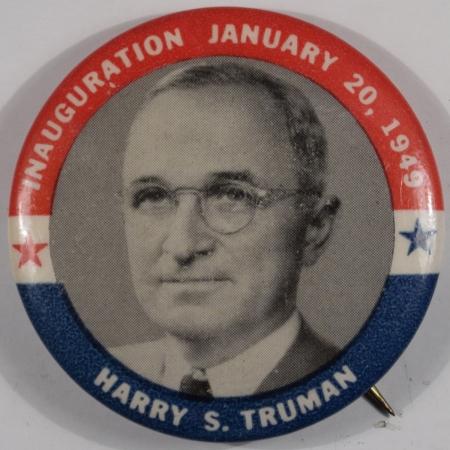 Political 1949 1-3/4″ TRUMAN INAUGURAL R/W/B CELLO BUTTON – MINT!