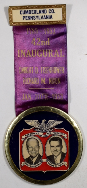Political 1953 3″ IKE-NIXON INAUGURAL BUTTON – NEAR MINT, RARE!
