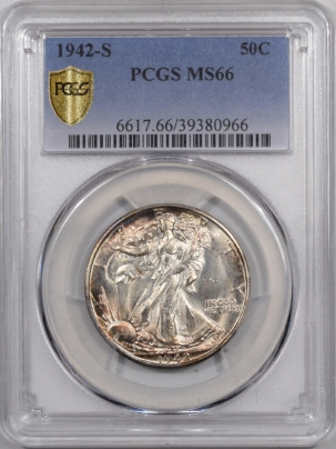 New Certified Coins 1942-S WALKING LIBERTY HALF DOLLAR PCGS MS-66 GORGEOUS REVERSE!