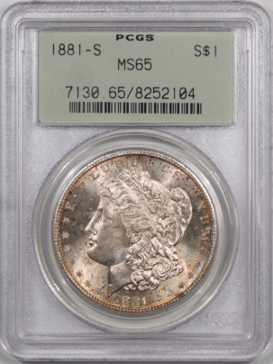 New Certified Coins 1881-S MORGAN DOLLAR – PCGS MS-65, PREMIUM QUALITY! OLD GREEN HOLDER