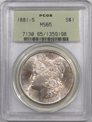 Morgan Dollars 1881-S MORGAN DOLLAR – PCGS MS-65, PREMIUM QUALITY! OLD GREEN HOLDER