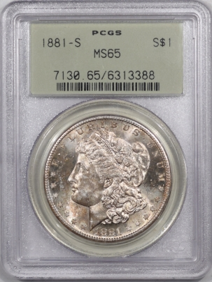 Coin World/Numismatic News Featured Coins 1881-S MORGAN DOLLAR – PCGS MS-65, PREMIUM QUALITY! OLD GREEN HOLDER